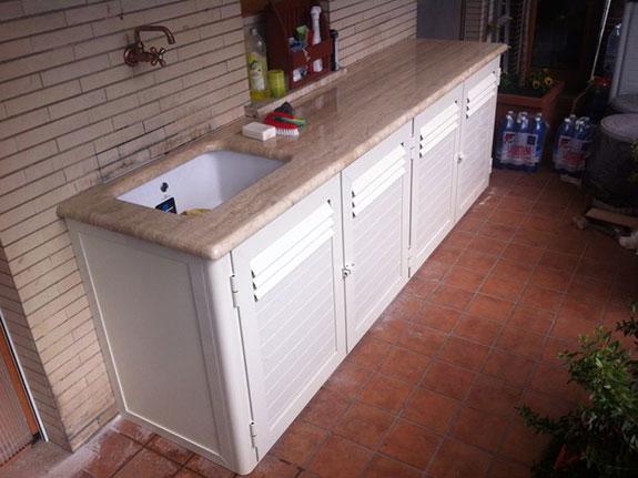 Cucine in alluminio per esterni alfa for Mobile per lavatrice e asciugatrice da esterno