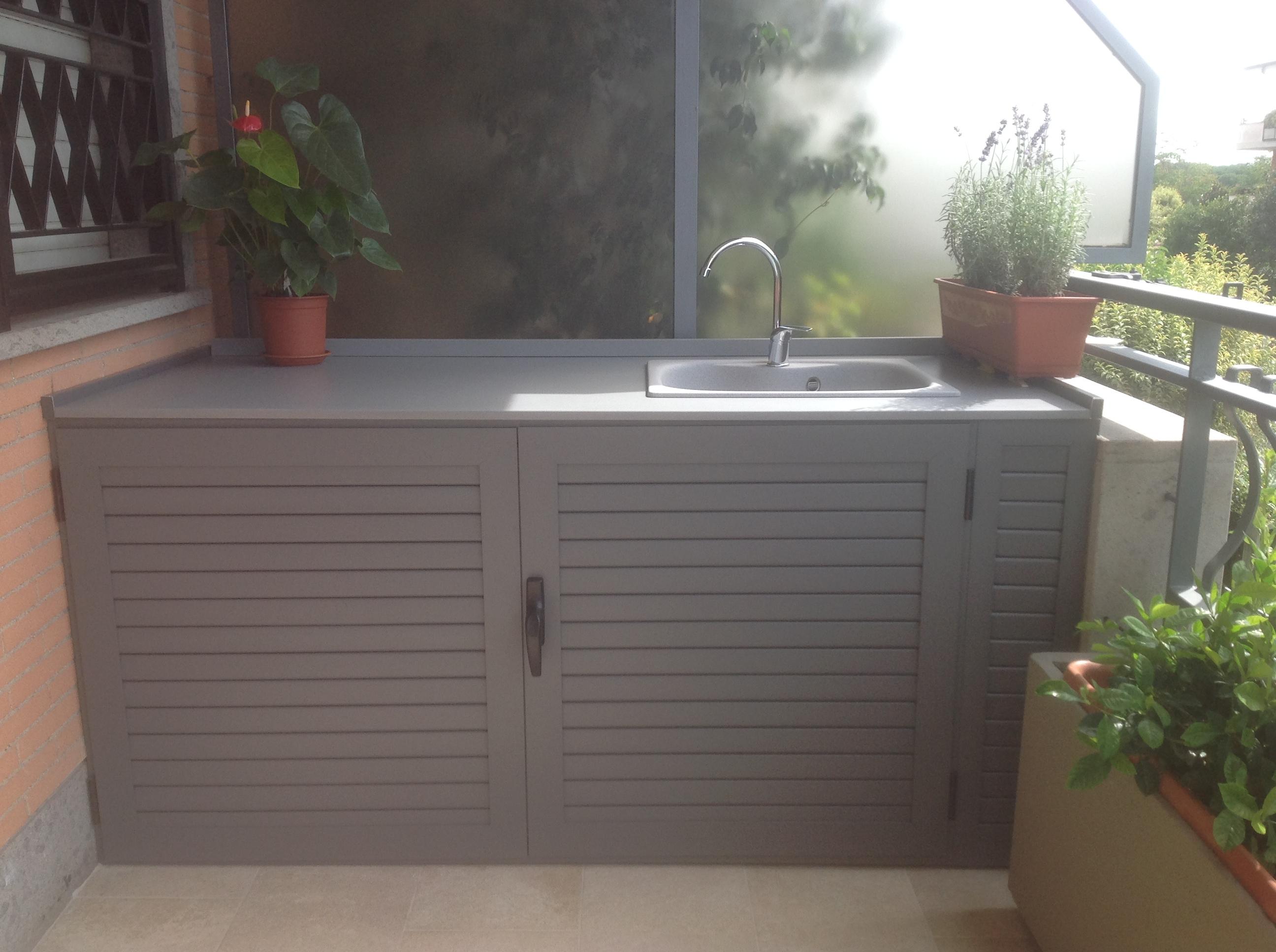 Lavandino Con Mobiletto Cucina : Armadi bassi in alluminio con lavandino per esterni alfa